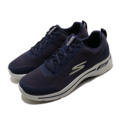 Skechers 休閒鞋 Go Walk Arch Fit 男鞋 專利鞋墊 足科醫生推薦 回彈 避震 穩定 藍 灰 216116NVGD