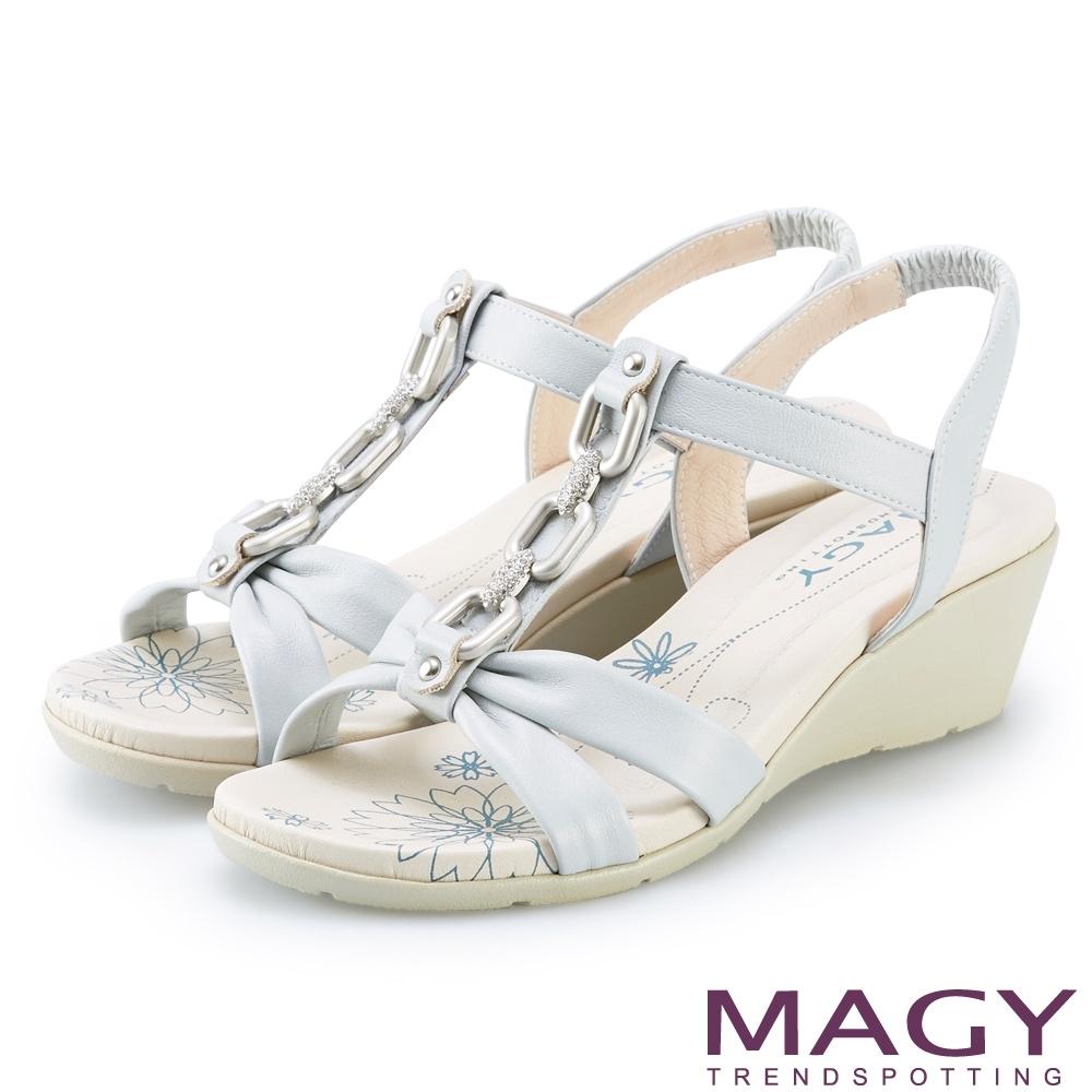 MAGY 白鑽T字牛皮踝帶楔型 女 涼鞋 淺藍