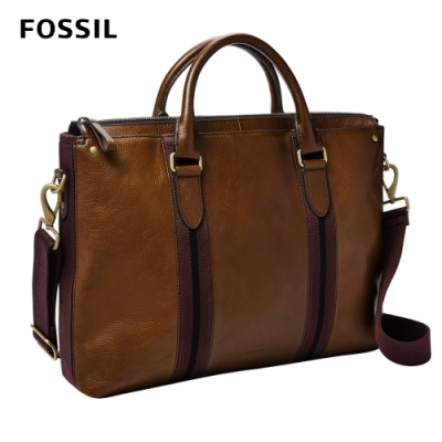 FOSSIL Houston 商務型兩用公事包(可入13吋筆電)-栗色 MBG9540215