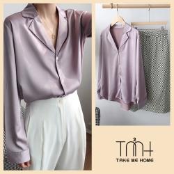 韓版絲綢襯衫-2色-TMH