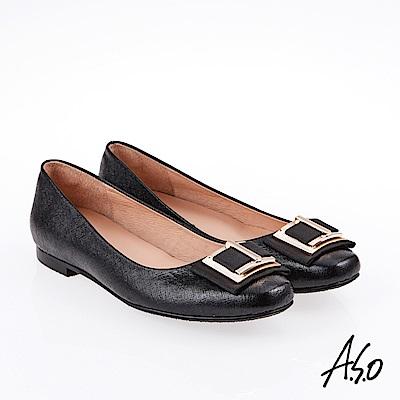 A.S.O 雅致魅力 職場通勤百搭經典款奈米低跟鞋 黑