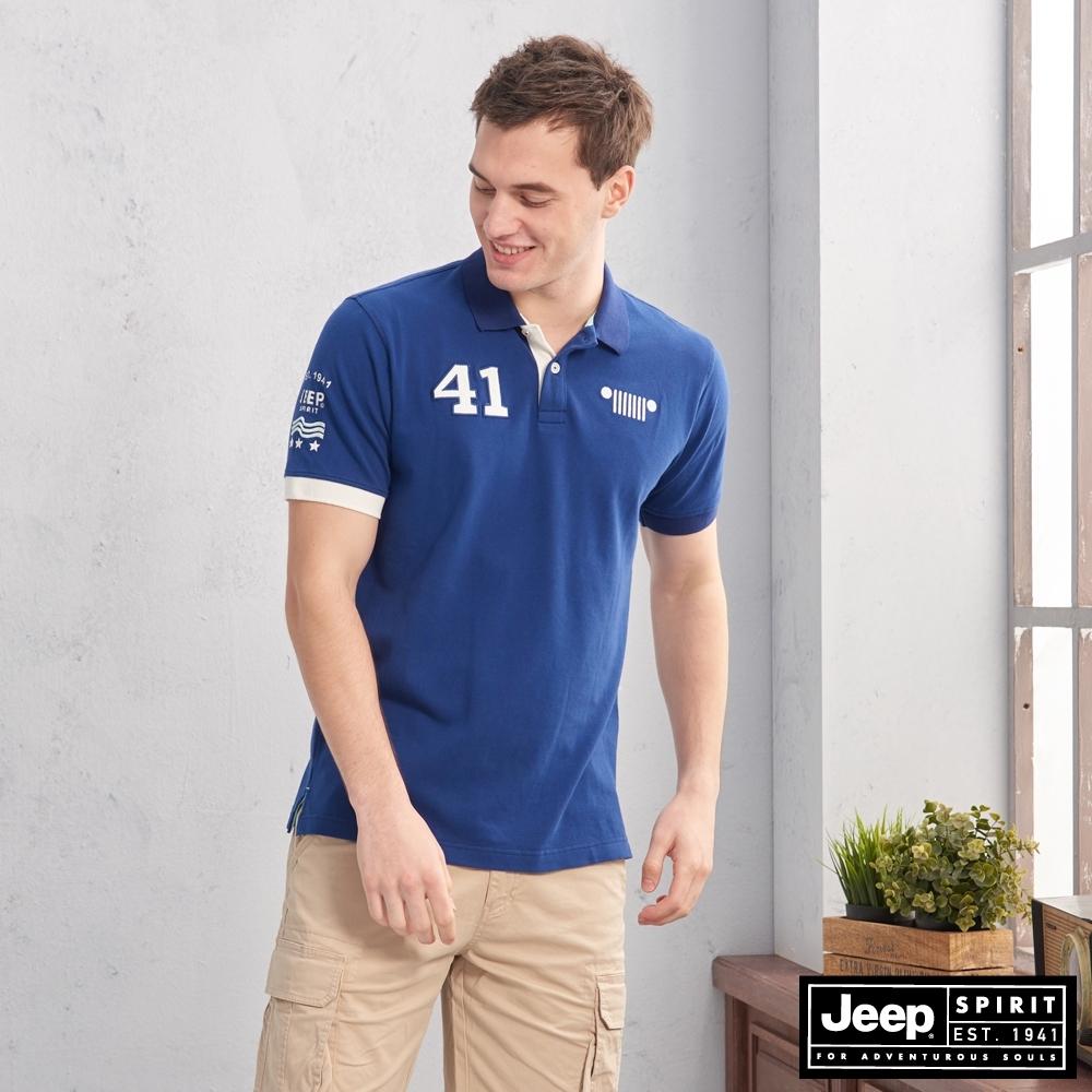 JEEP 吸濕排汗簡約圖騰短袖POLO衫-寶藍