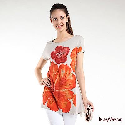 KeyWear奇威名品    花朵彩繪短袖上衣-灰色