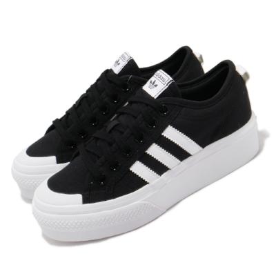 adidas 休閒鞋 Nizza Platform  厚底 女鞋 愛迪達 三葉草 基本款 增高 穿搭推薦 黑 白 FV5321