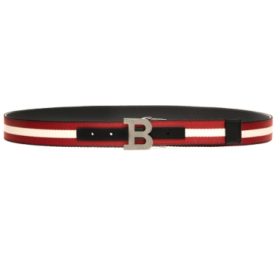 BALLY 新款 B buckle 35 帆布牛皮雙面用皮帶(6235340-黑)