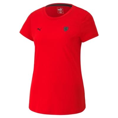 PUMA-女性法拉利經典系列小盾短袖T恤-法拉利紅-歐規