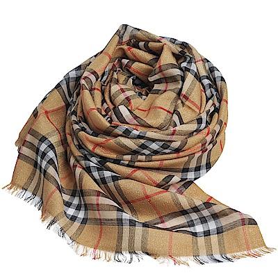 BURBERRY 經典格紋金屬感格紋絲綢羊毛圍巾(駝/金色/220 x 70cm)