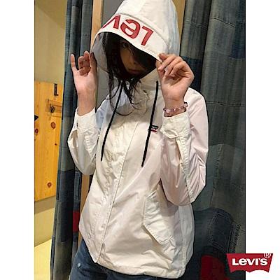 Levis 女款 連帽防風外套 Logo帽子 Sportswear 白