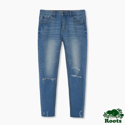 Roots男裝-刷色破壞感牛仔褲-淺藍色
