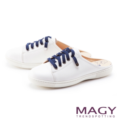 MAGY 素面鞋帶真皮穆勒 女 休閒鞋 白色