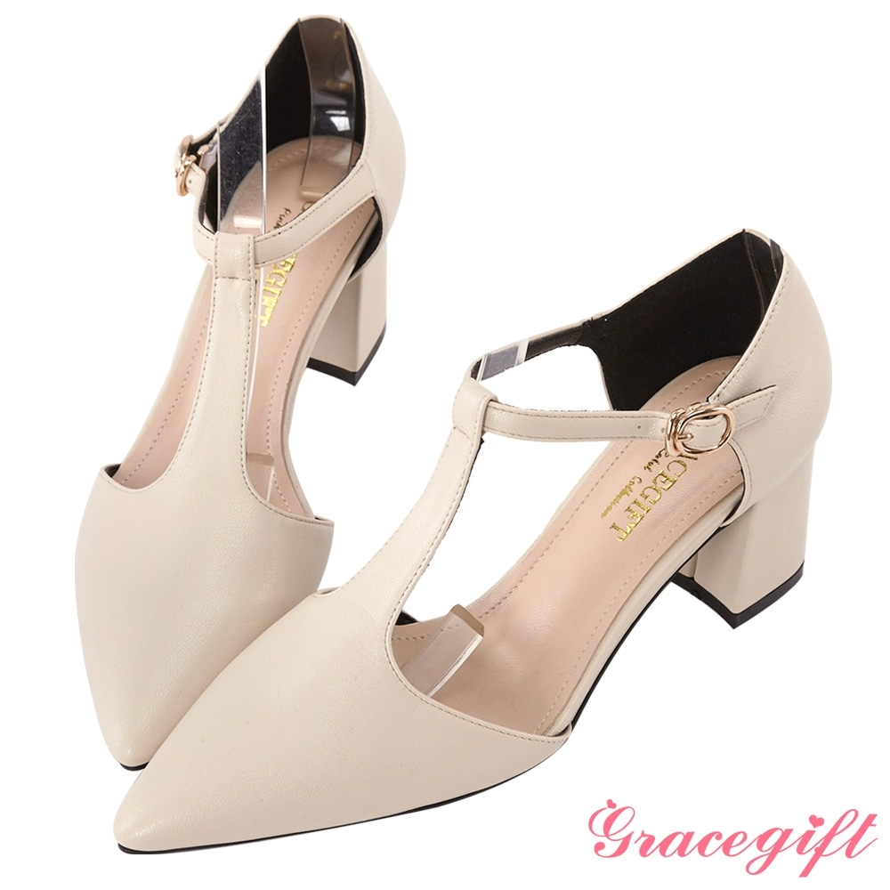 Grace gift-尖頭T字踝帶素面跟鞋 杏