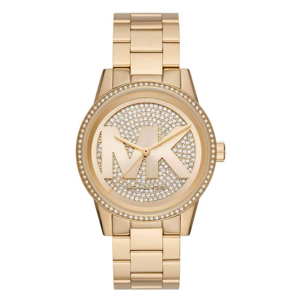 Michael Kors 華麗風滿鑽大LOGO潮流腕錶-金-MK6862