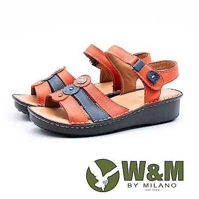 W&M 三線拚色魔鬼氈黏涼鞋 女鞋 - 橘(另有紫)
