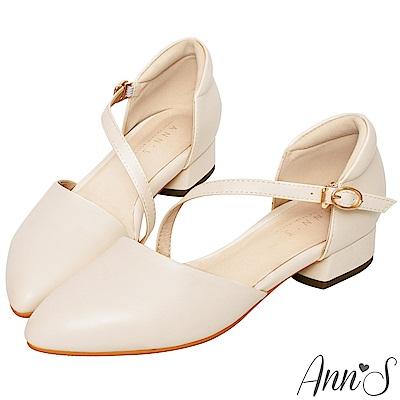 Ann'S瘦瘦的-延伸修長腳背斜帶低跟尖頭鞋-杏(版型偏大)