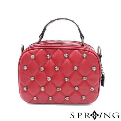 SPRING-鉚釘方格包 寶石紅