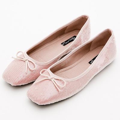 River&Moon韓版小朵結亮片方頭芭蕾娃娃鞋*粉