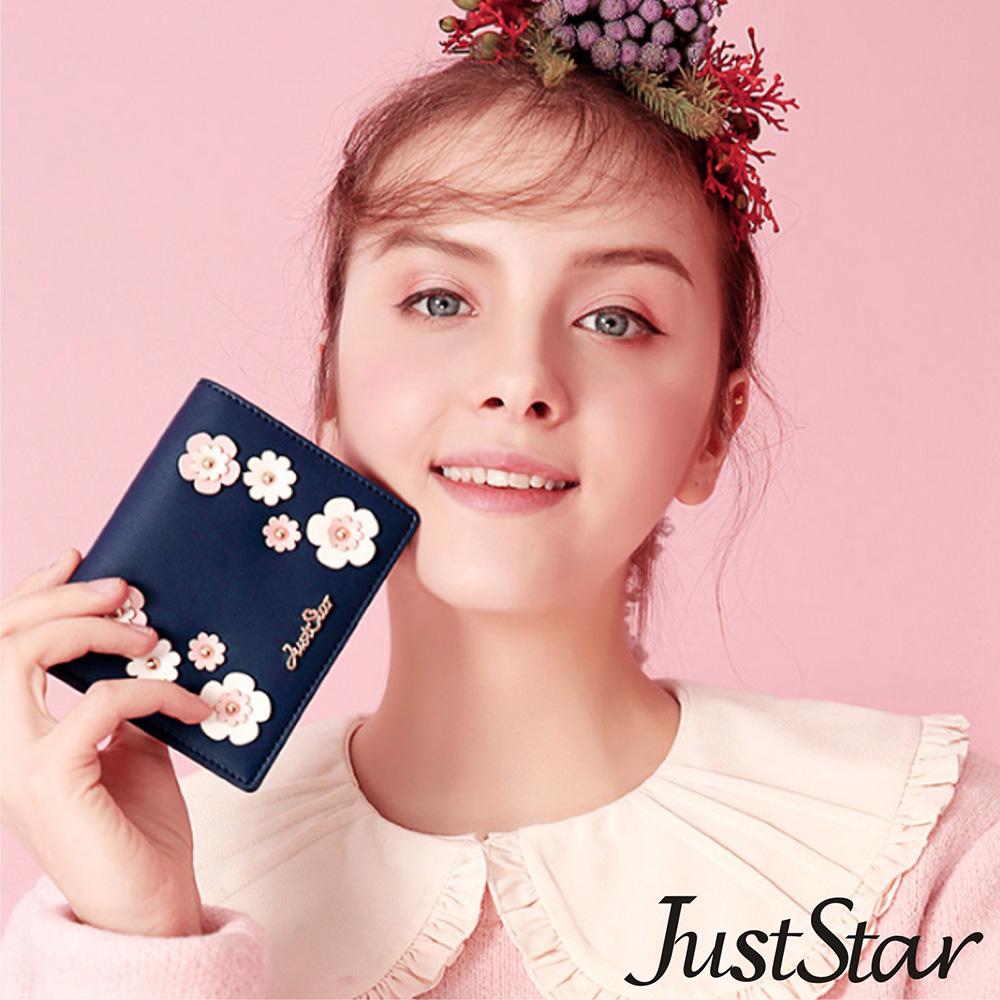 Just Star 繽紛立體釘花對折短夾 花漾藍