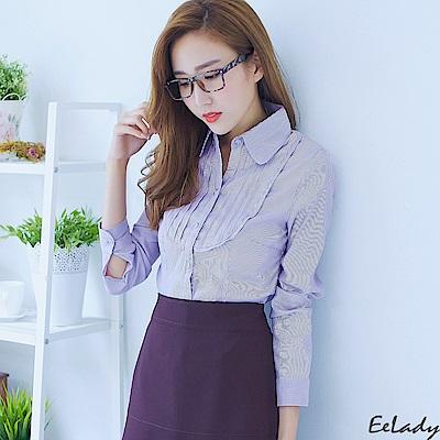 胸襟壓皺長袖條紋襯衫(紫色)-EELADY