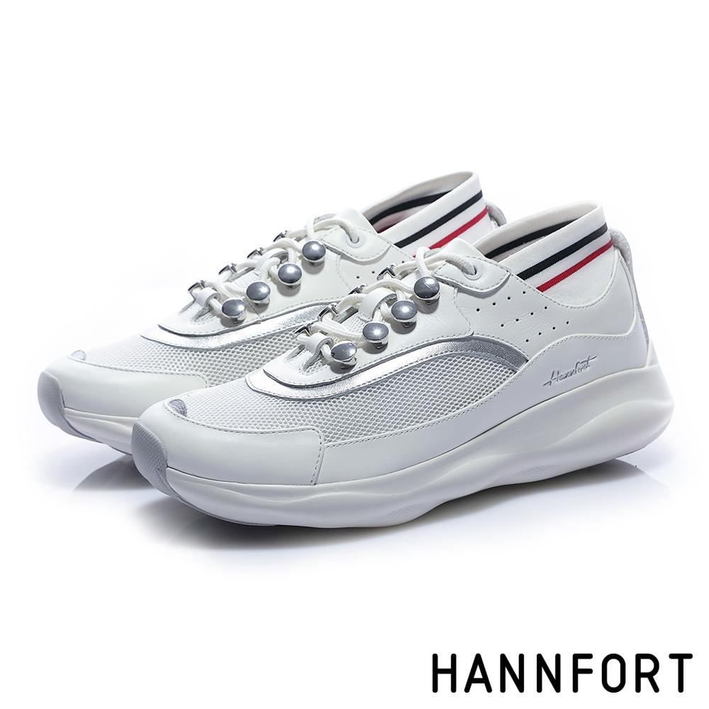 HANNFORT BUBBLES流線復古厚底跑鞋-女-潮流白