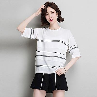 綻放  寬鬆條紋顯瘦針織衫-共2色-(M-2XL可選)