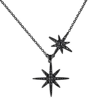 apm MONACO METEORITES NOIRES系列晶鑽鑲飾雙流星設計純銀項鍊-黑