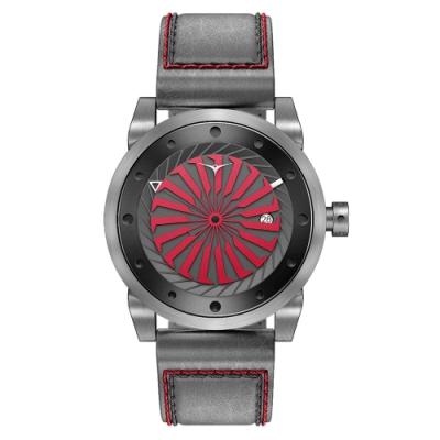 ZINVO 刀鋒戰士渦輪機械腕錶-灰X紅(BBOLD)/44mm