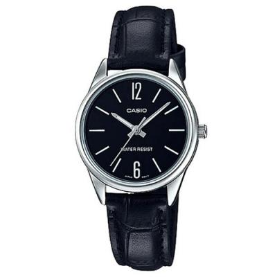 CASIO 經典復古輕巧準點時刻指針腕錶-黑X銀框(LTP-V005L-1B)/34mm