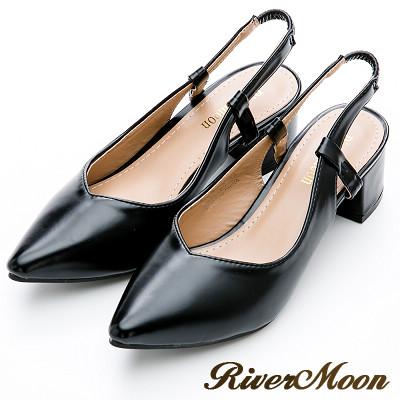 River&Moon大尺碼-輕熟時尚後拉帶尖頭粗跟鞋-光澤黑