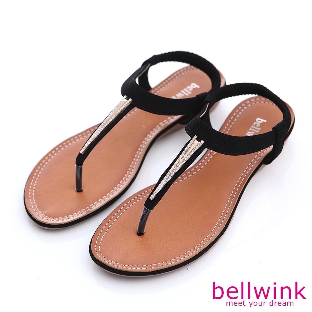 bellwink-日系金屬T字夾腳涼鞋-黑-b9802bk