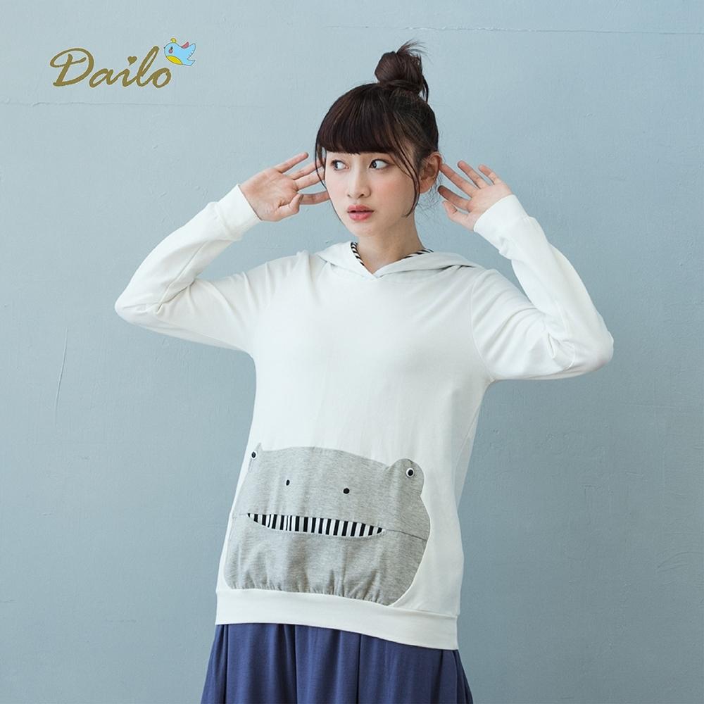 【Dailo】青蛙咧嘴笑口袋-上衣(二色)
