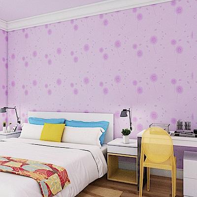 半島良品 防水PVC自黏裝飾牆紙45x200cm-紫色蒲公英