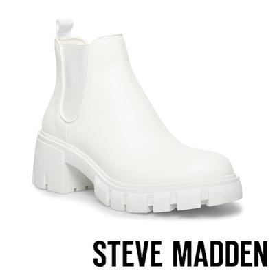 STEVE MADDEN-HOWLER 基本款素面厚底切爾西短靴-白色