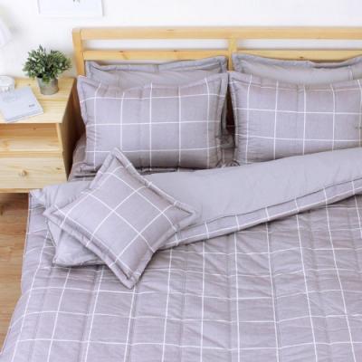艾莉絲-貝倫 和日方常 100%純棉 六件式雙人加大鋪棉床罩組-灰棕色