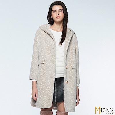 MONS 都會狐狸絨豹紋連帽長版大衣/外套