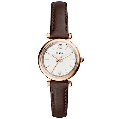 FOSSIL Carlie優雅時尚真皮手錶(ES4472)-白X玫瑰金框/27mm