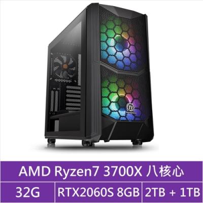 (無卡分期12期)華碩X570平台[貪婪帝王]R7八核RTX2060S獨顯電玩機