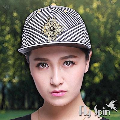 FLYSPIN 潮流行黑白條紋平眉街頭帽