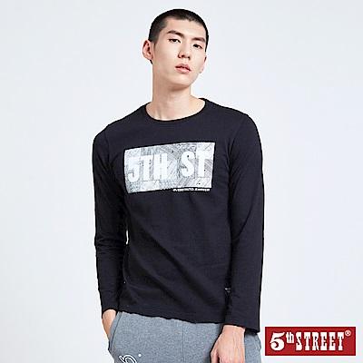 5th-STREET-幾何潮流植絨長袖T恤-男-黑