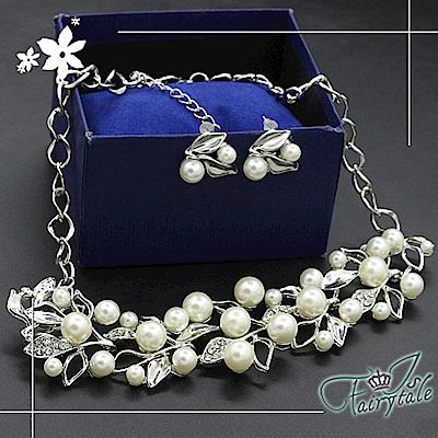 iSFairytale伊飾童話 珍珠葉片 奢華水鑽項鍊耳環二件套組 銀
