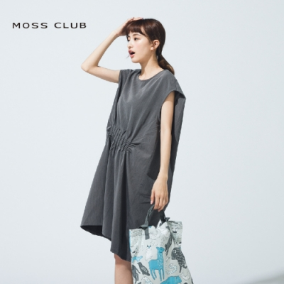 【MOSS CLUB】削肩設計款連身-洋裝(灰色)