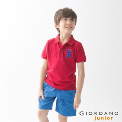 GIORDANO 童裝勝利獅王漸層刺繡彈力萊卡POLO衫-38 標誌紅