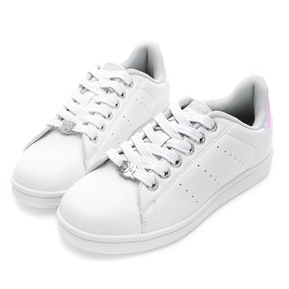 PLAYBOY女力步調 後跟拼接色綁帶休閒鞋-白彩