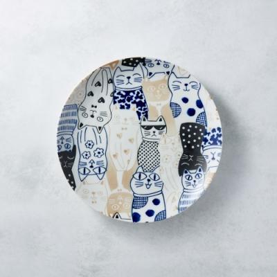 有種創意 日本美濃燒-酷花貓餐盤 - 藍