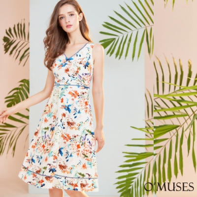 OMUSES V領印花A-Line裙襬洋裝
