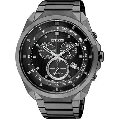 CITIZEN 星辰 Eco-Drive 專屬型男計時腕錶-IP黑/44mm AT2155-58E