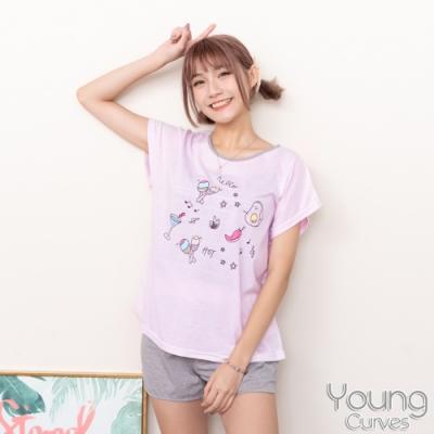睡衣 彈性棉質短袖兩件式睡衣(C01-100709水果點心吧) Young Curves