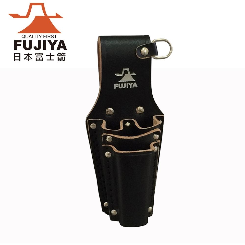 【FUJIYA日本富士箭】高級黑牛皮腰間鉗子+起子收納袋-四支型(LP-4DSB)