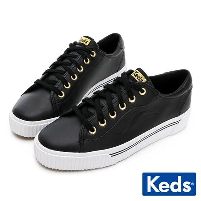 Keds CREW KICK ALTO 復古金屬真皮厚底鞋-黑
