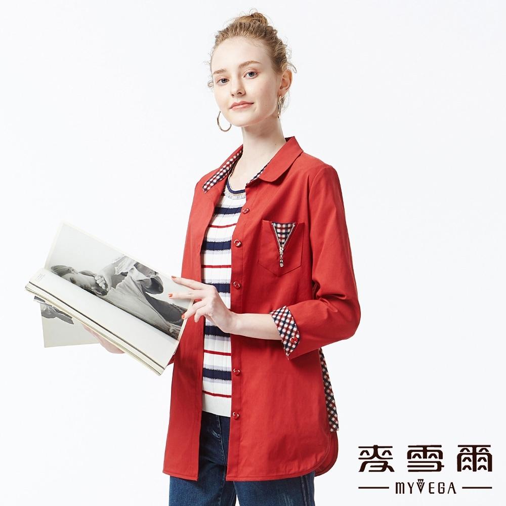 麥雪爾 素色拼接格紋七分袖外套-紅