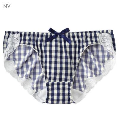 aimerfeel 格紋蕾絲內褲-海軍藍-176921-NV